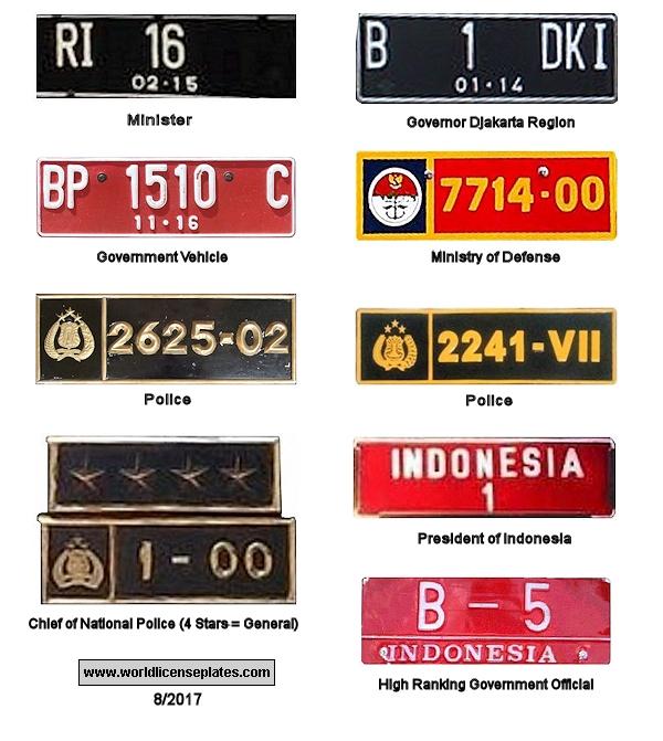 Indonéz egyedi rendszámok