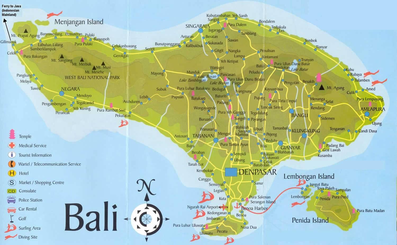Bali térképe a főbb látnivalókkal