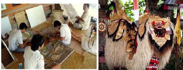 Batuan művészete: balra Batuan festők, jobbra Barong táncosok