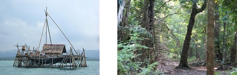 Balra: Hagyományos halászkunyó Pangandaram partjainál, Jobbra: Pangandaram Nemzeti Park erdei ösvénye